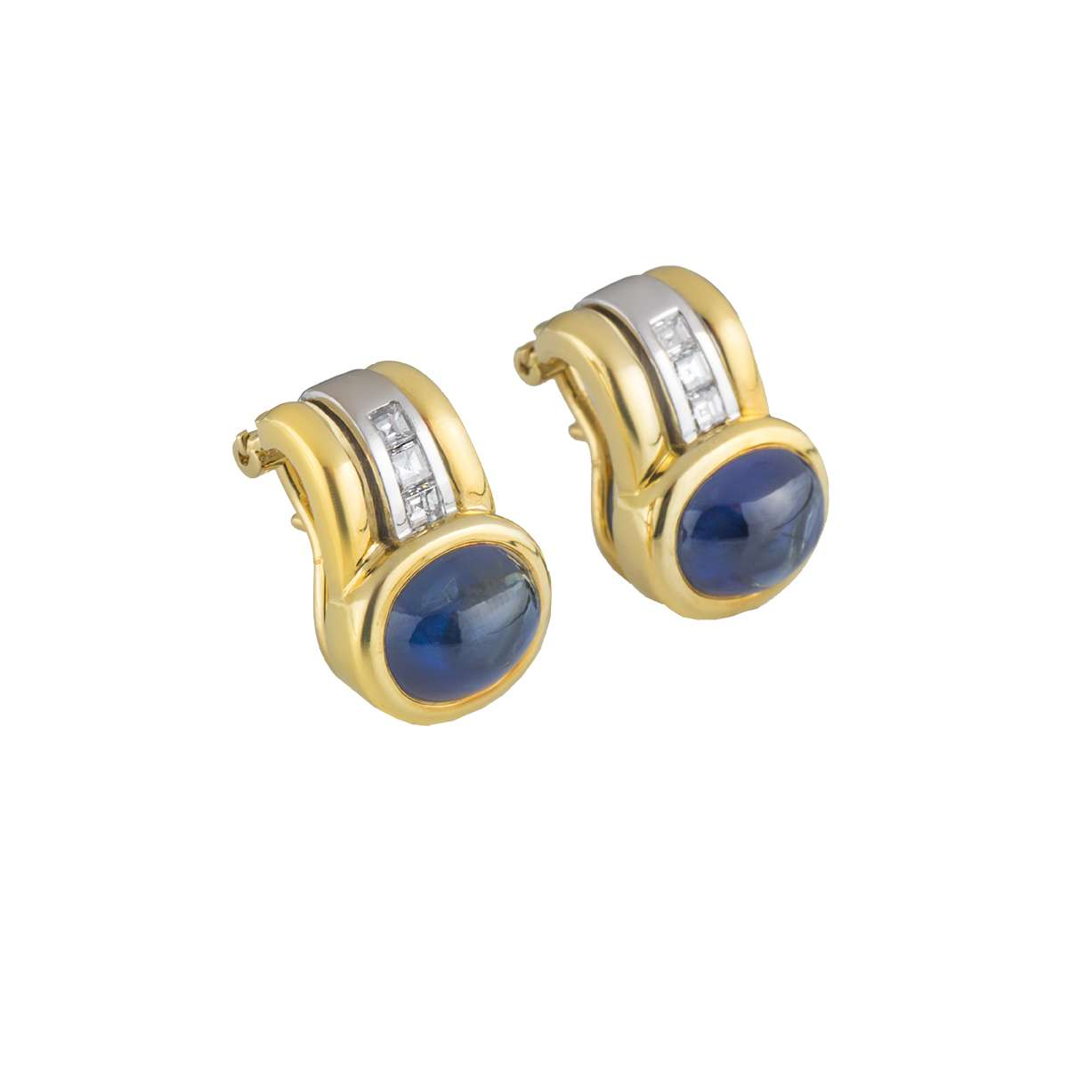 18k Yellow Gold, Diamond and Sapphire Earrings